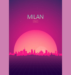 Travel poster futuristic retro skyline milan vector