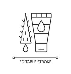 Using moisturizing lotion linear icon vector
