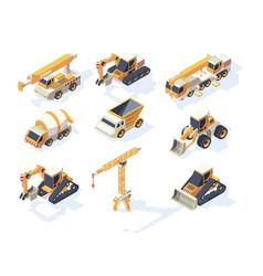 vehicle constructions big cars truck van crane vector image