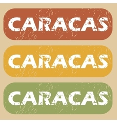 Vintage Caracas stamp set vector