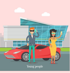 Young rich people standing near the luxury car vector