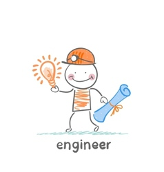 engineer holding blueprints and idea vector image vector image