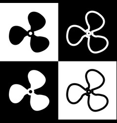 fan sign black and white icons and line vector image vector image