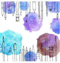 background with art materials vector image vector image