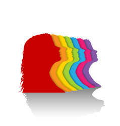 colorful silhouette of woman vector image