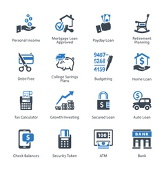 Finance Icons Set 2 - Blue Series vector image vector image