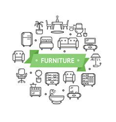 furniture round design template thin line icon vector image