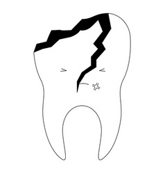 Kawaii tooth with root and broken in black vector