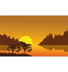 Silhouette of city and lake vector image