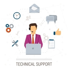 Technical support flat style Woman and icons vector image vector image