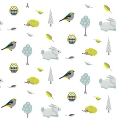 Blue bunny green hedgehog forest seamless pattern vector image