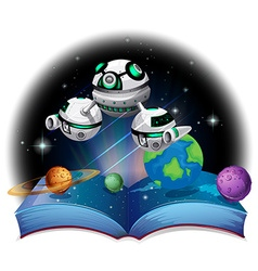 Book of spaceship flying in the galaxy vector image