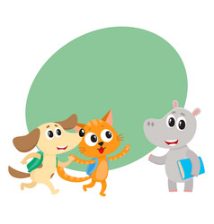 cute animal student characters cat dog and hippo vector image