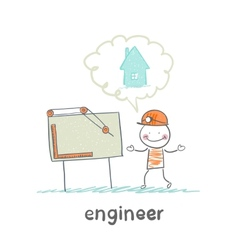 engineer looking at drawings and thinking about vector image