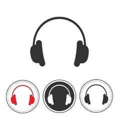 Headphones with line round circle Red black vector image