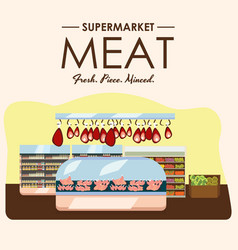 meat department pork shelf with fresh beef and vector image