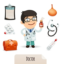 medical set with a male doctor vector image