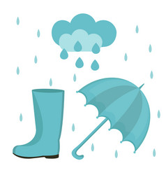 rain set of flat or cartoon style autumn vector image