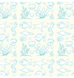 various sea animals and plants vector image vector image