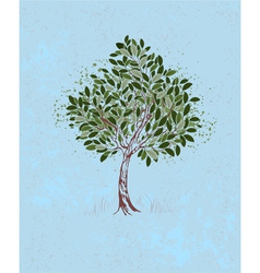 Young tree on a blue background vector
