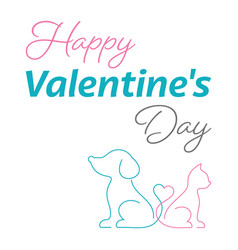 happy valentine card cute cat and dog vector image