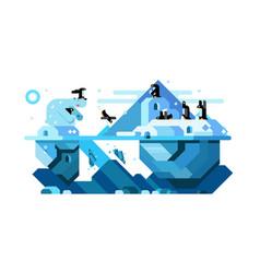 polar bear and arctic cute penguins vector image