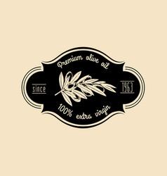 Vintage olive logo retro emblem with vector