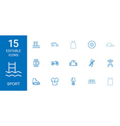 15 sport icons vector image