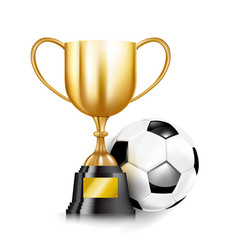 3d golden trophy cups and soccer ball 001 vector image