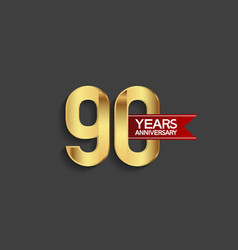 90 years anniversary simple design with golden vector