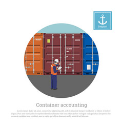 A port worker near the container harbors engineer vector