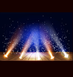 A theater stage with a magic light effect vector