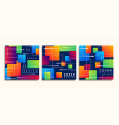 abstract colorful geometric shape card collection vector image