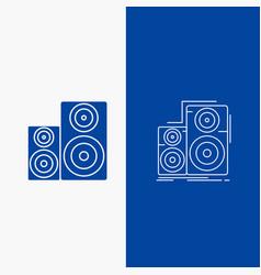Audio hifi monitor speaker studio line and glyph vector