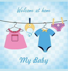 baby shower design over blue background vector image