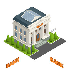 bank finance building icon isolated vector image