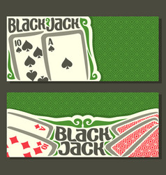 Banners of black jack for text vector