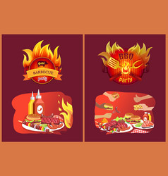 Barbecue grill party emblems in flame and food vector