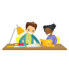 biracial brother and sister doing homework vector image