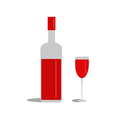 bottle red wine and glass on white background vector image