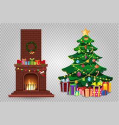cartoon christmas set of decorated burning vector image