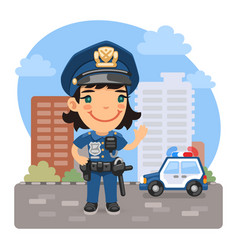 cartoon policewoman on street vector image