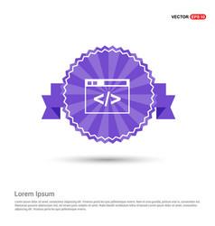 clapper board icon - purple ribbon banner vector image