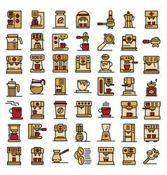 coffee machine icons set flat vector image