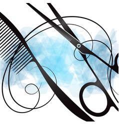 Comb and scissors unique design vector