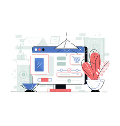 computer monitor with open customer app vector image