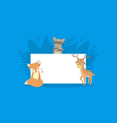 Cute forest animals holding empty banner fox vector