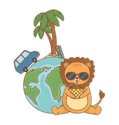 Cute lion enjoying summer time cartoon vector