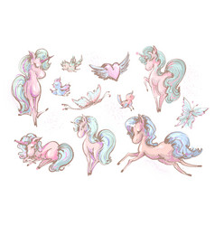 cute unicorns butterflies and birds collection vector image