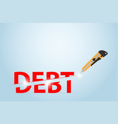 cutter knife cutting debt word financial concept vector image
